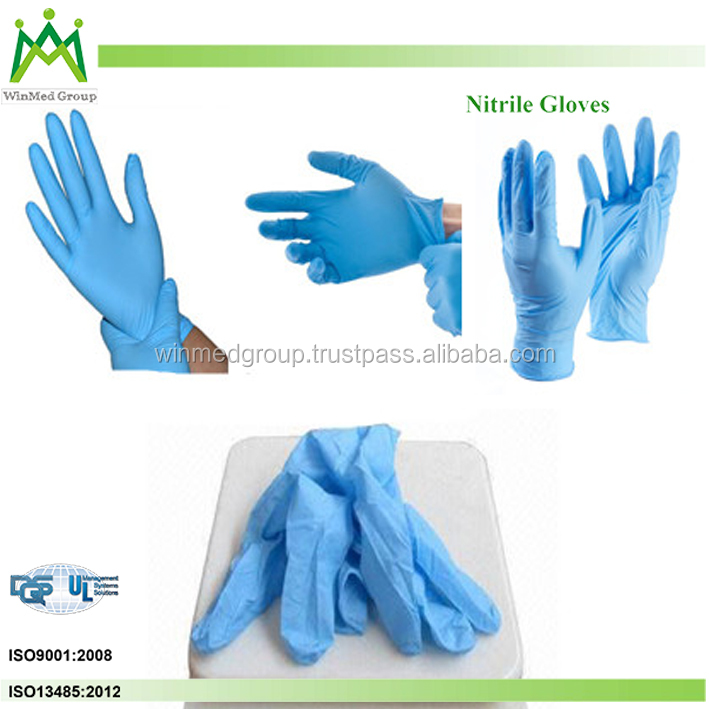 esd nitrile gloves/ Powder Free Disposable Nitrile Examination Gloves/ colored long nitrile work gloves