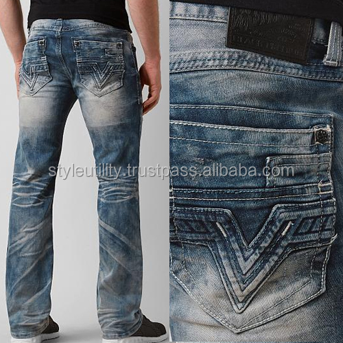 High quality washed distressed designer jeans US size