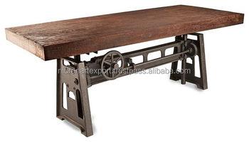 Tavolo Da Pranzo Industriale : Industrial cast vintage ferro metallo manovella tavolo da pranzo