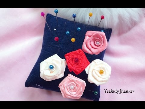 Ribbon rose- hijab pin, stick pin or hat pin