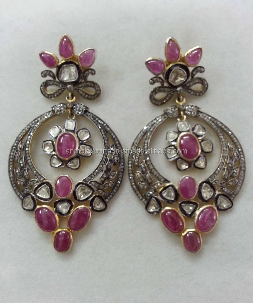 80baf467d3eba Ruby Gemstone Diamond Polki Earring,Gemstone Danglers,Wholesale Pave  Diamond Earring Jewelry Anmol Export - Buy Pave Diamond Slice Sapphire  Gemstone ...