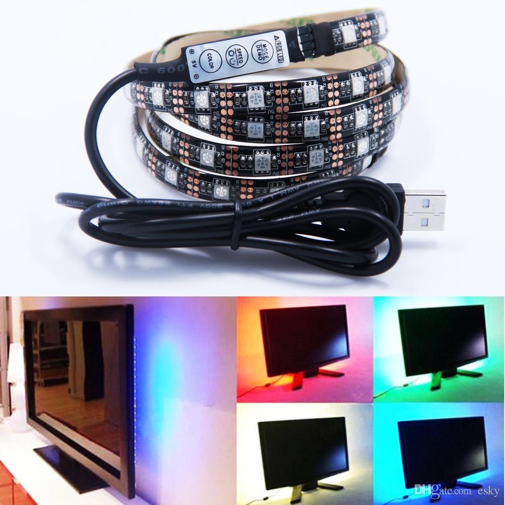 usb led strip lights kit upgraded tv backlight 2 smd5050 rgb rope light 44 key mini. Black Bedroom Furniture Sets. Home Design Ideas