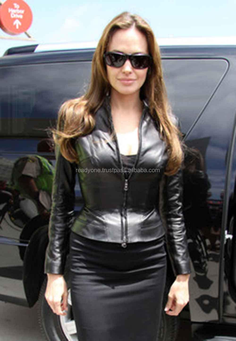 d9be0fdddae Anglena Jolie Fashionable Black Leather Jackets - Buy Black Faux Pu ...