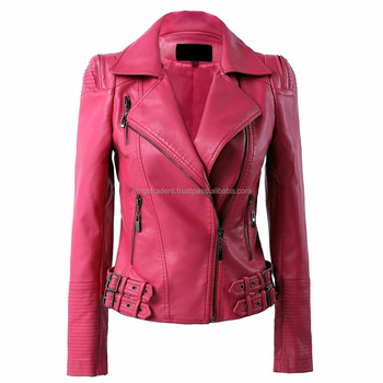 34727429aa10 Pakistani Manufacturer Pink Women s Pink Pure Leather Spring Jacket ...