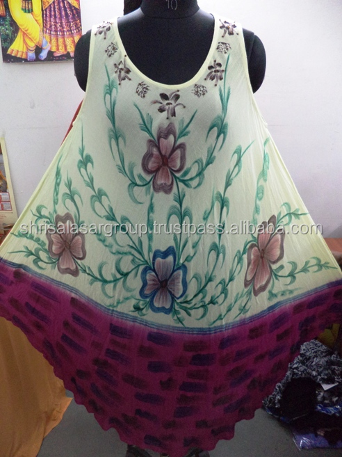 Han brush paint free size reyon crepe beachwear umbrella Summer dress