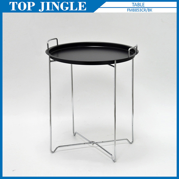 X Shape Wire Small Portable Black Handle Round Metal Tray Table