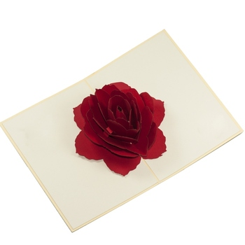 New Rose Flower Pop up Card and Birthday 3d handmade card and love 3d laser cutting card