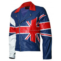 Union Jack Flag Leather Jacket for Men - Ramsey