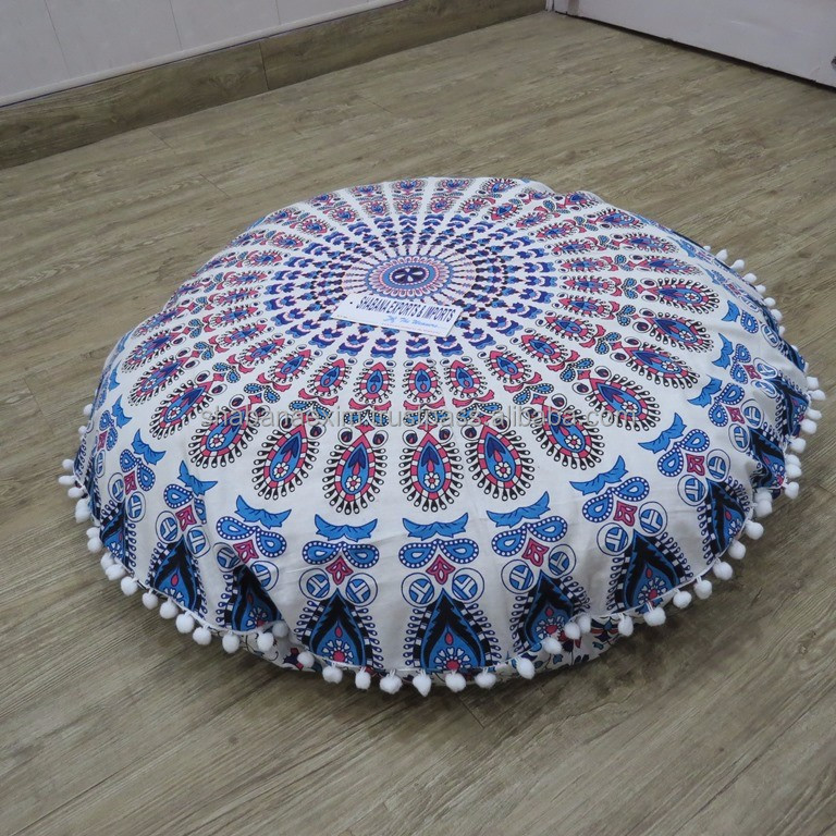 Round Cushion Mandala Floor Pillow Cover Boho Home Decor Ottoman