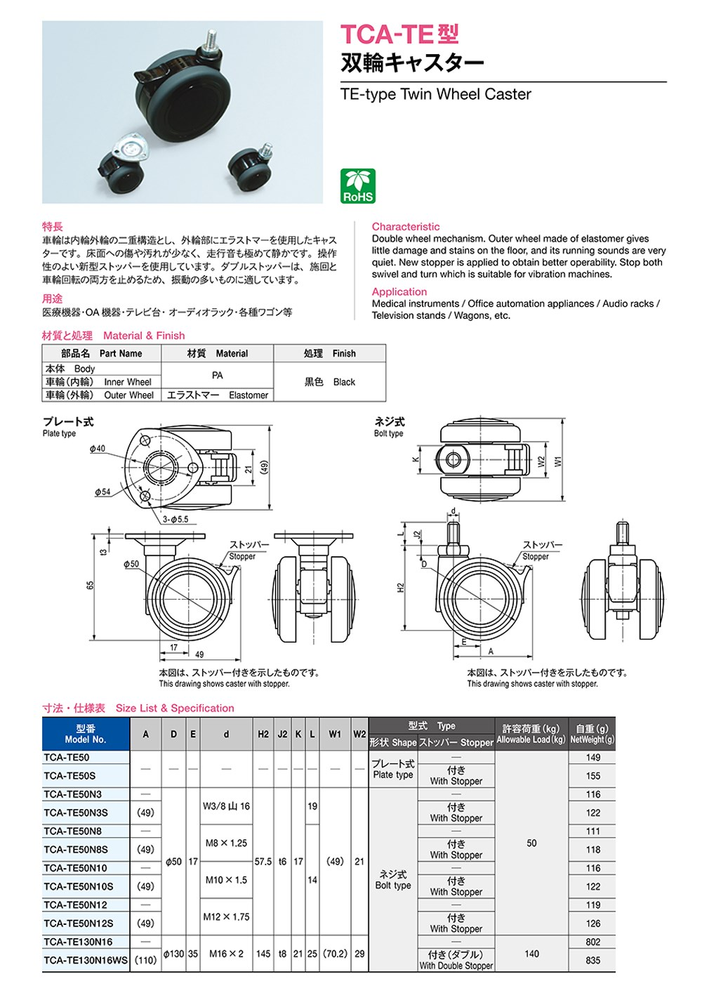 Tca-te Series Te-type Twin Wheel Caster Rohs10 Rohs2 2d Data Dxf 3d Sat Stp  Pdf Igs Xt Available - Buy Twin Wheel,Wheel Caster,Rohs10 Product on