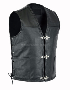 New Mens Real Leather Biker Waistcoat/vest Fish Hook Buckle Sides ...