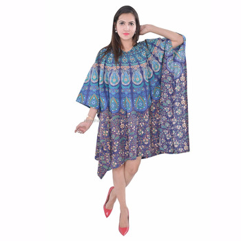 03967bec97 Azul de la India Badmedi vestido Mandala vestido de las mujeres vestido  Boho hippie Mini cubierta