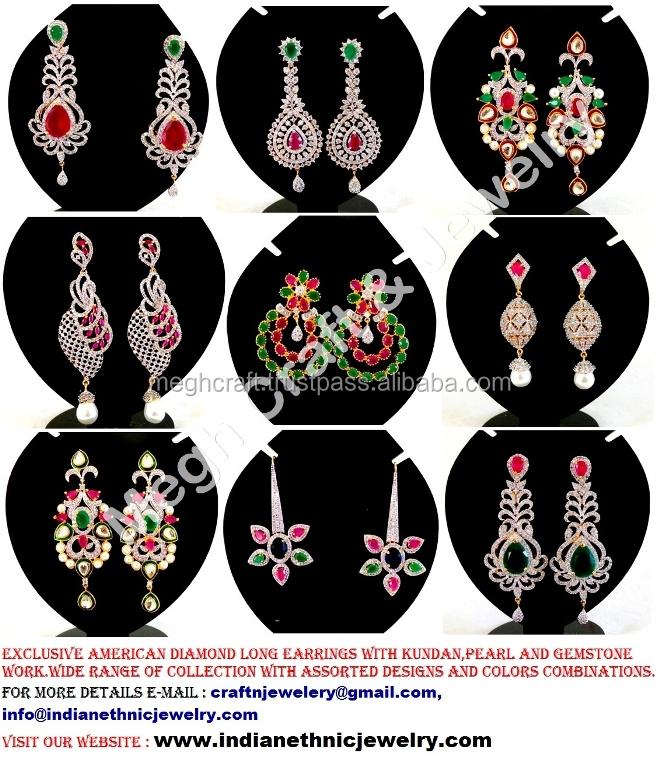 American Diamond long Earrings - Wholesale American diamond ...