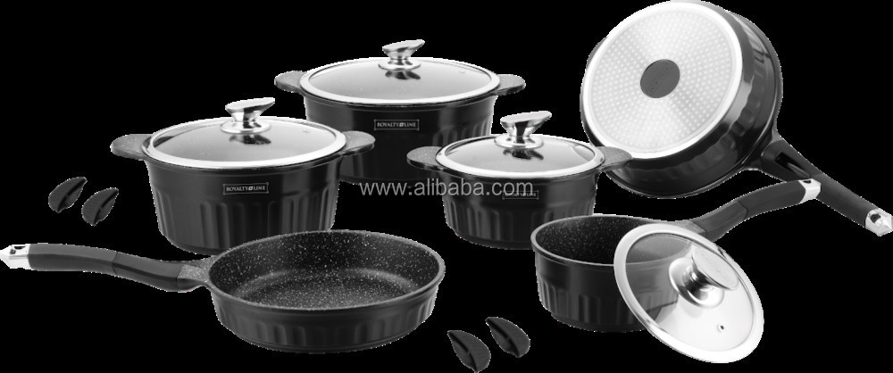 Royalty Line - Rl-hs1014m 14 Pcs Marble Coating Cookware Set