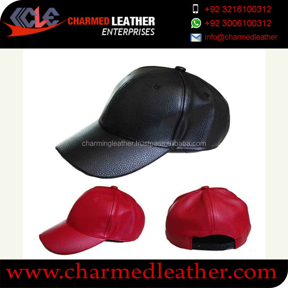cowhide leather caps -6 panel fashion black leather snapback cap with 3D Emb