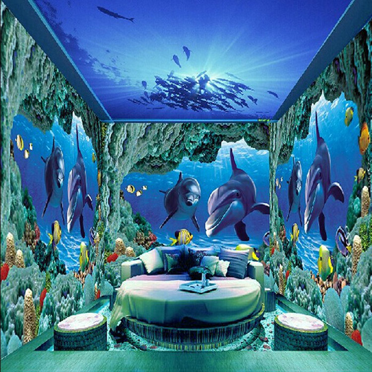 3D Effective Decoration Door Sea Murals Wallpaper Fish Ceiling Background  Undersea World Customize Part 74