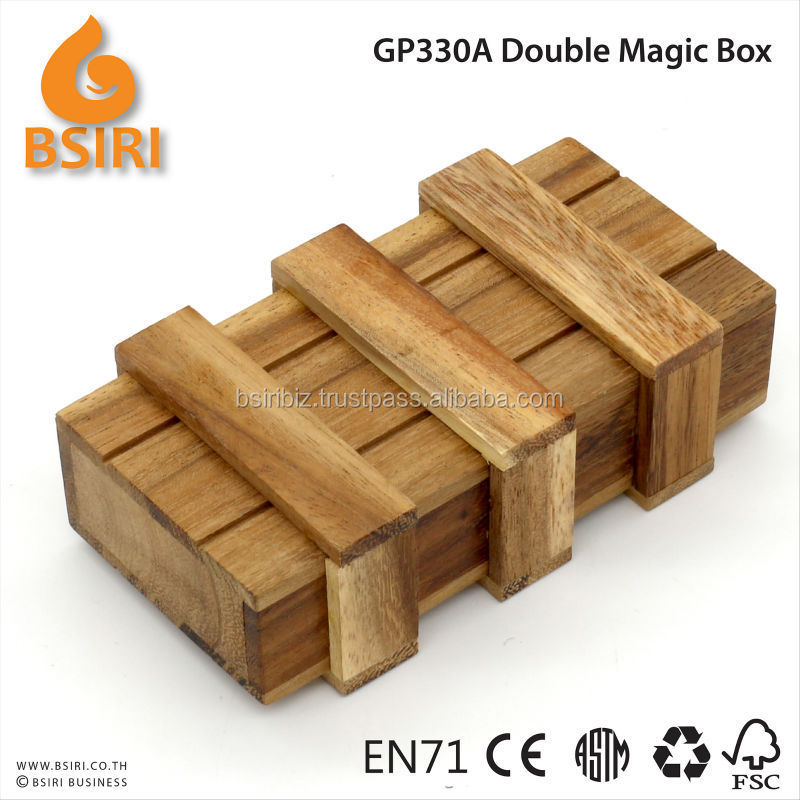 3D Brain Teaser Wooden Magic Two Secret Drawers Gift Box Puzzle Toy