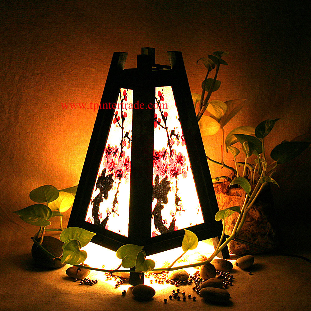 Oriental Home Decor Bedside Table Lamp Wood Bamboo Furniture ...