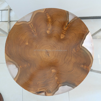 Round Teak With Clear Resin Side Table - Buy Epoxy Resin Table,Wood Coffee  Table,Resin Furniture Product on Alibaba com