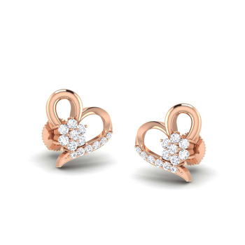 ae69504f6 0.50ct Brilliant cut Real Diamond Heart Shape Rose Gold Earring in 14k Gold