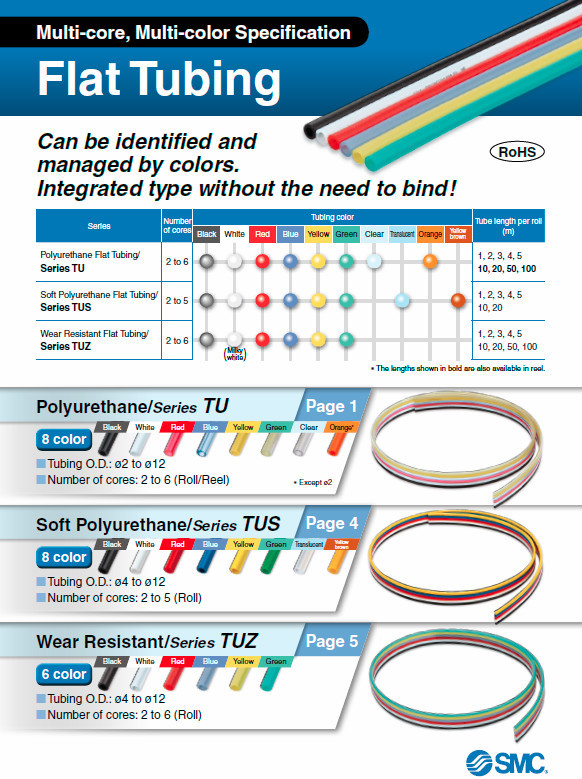 Various flat type pneumatic polyurethane tube with multi