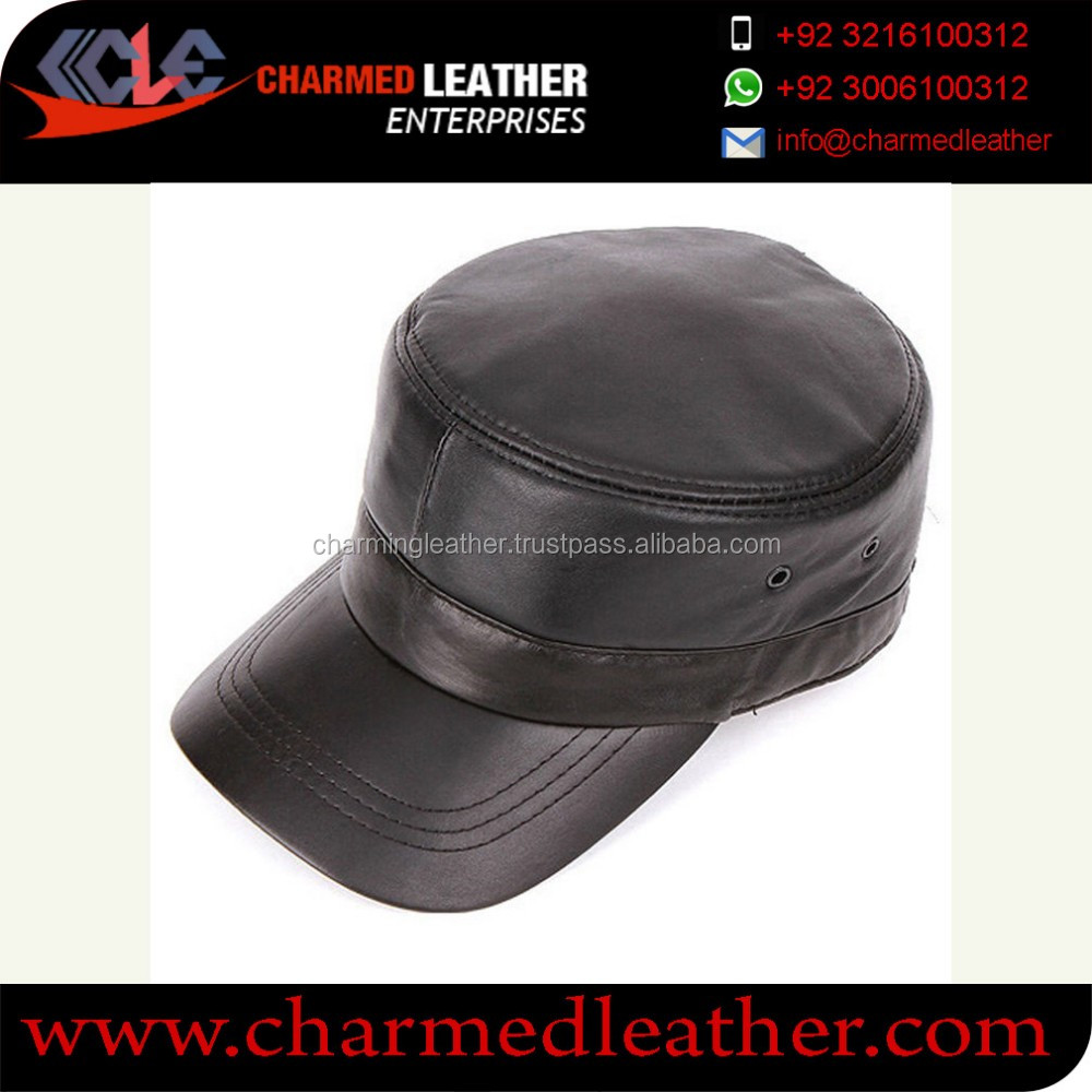 eef7531569670 Men Leather Captain hat OEM ODM Service Factory Custom Fitted Men s Black  leather Blank Captain Hats