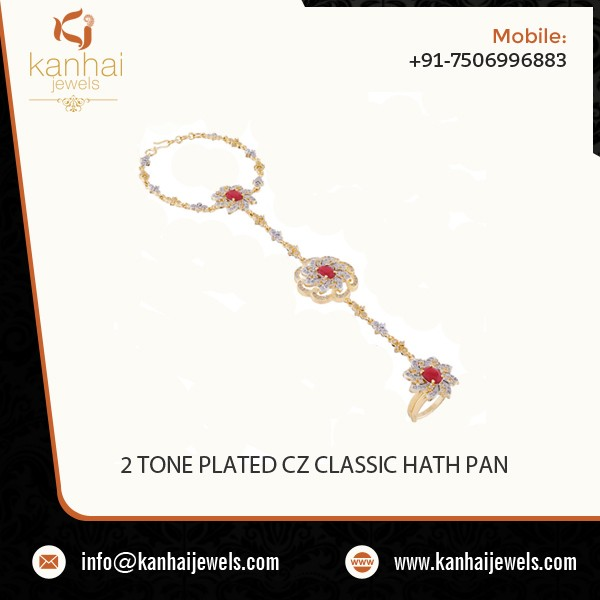 Latest Design Gold Plated Classic CZ Hath Pan - 50705