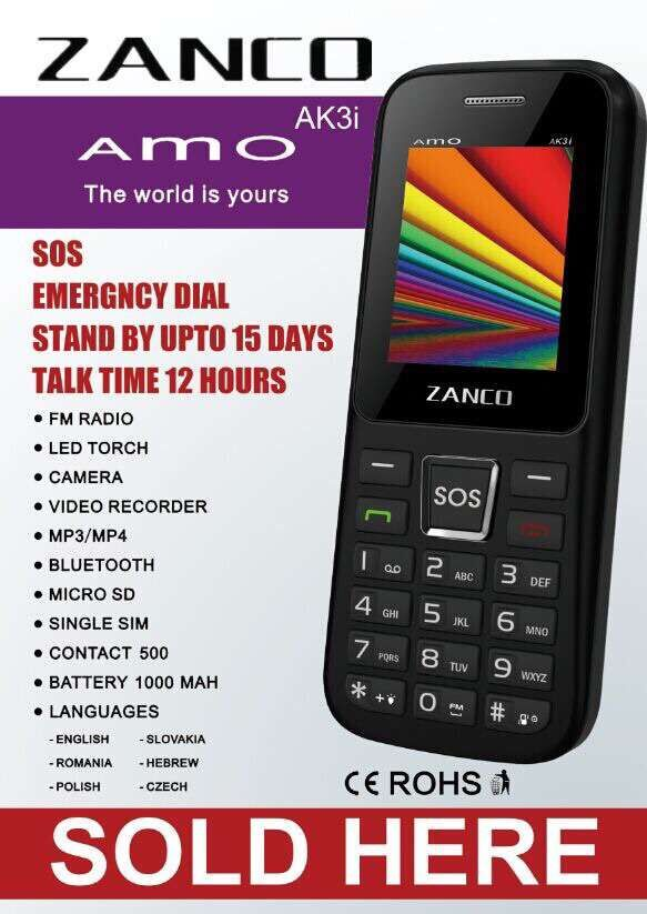 latest cheap feature phone ZANCO AS3i with large battery and high quality