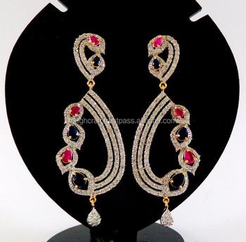 Party Wear Cubic Zircon Earrings American Diamond Ruby Long Cz Wholesslae