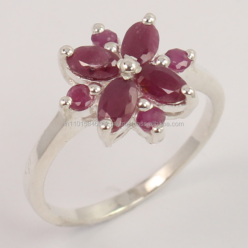 Natural RUBY Gemstone 925 Sterling Silver Jewelry Engagement Ring Size US 6.75