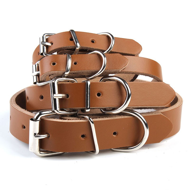 2016 New Design Plain Genuine Leather Dog Pet Collar