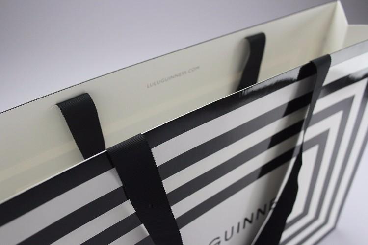 Compras Impresión Personalizado De Bolsa Negro Blanco Y Logotipo 4wTap