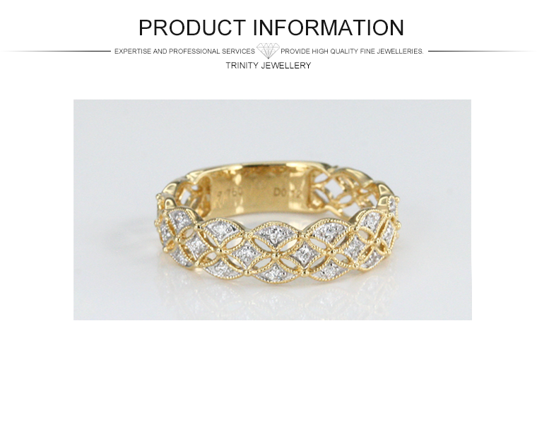 2016 Hot Daily Wear Vintage Design Yellow Gold Real Diamond Ring 14