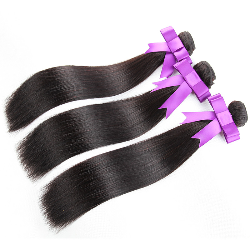 Raw unprocessed wholesale 100% natural straight indian human hair bundles Brazilian hair extension