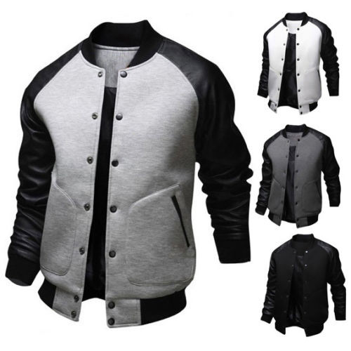 Sports Wear Style Cheap Wholesale Contrast Sleeve Bomber Varsity ...