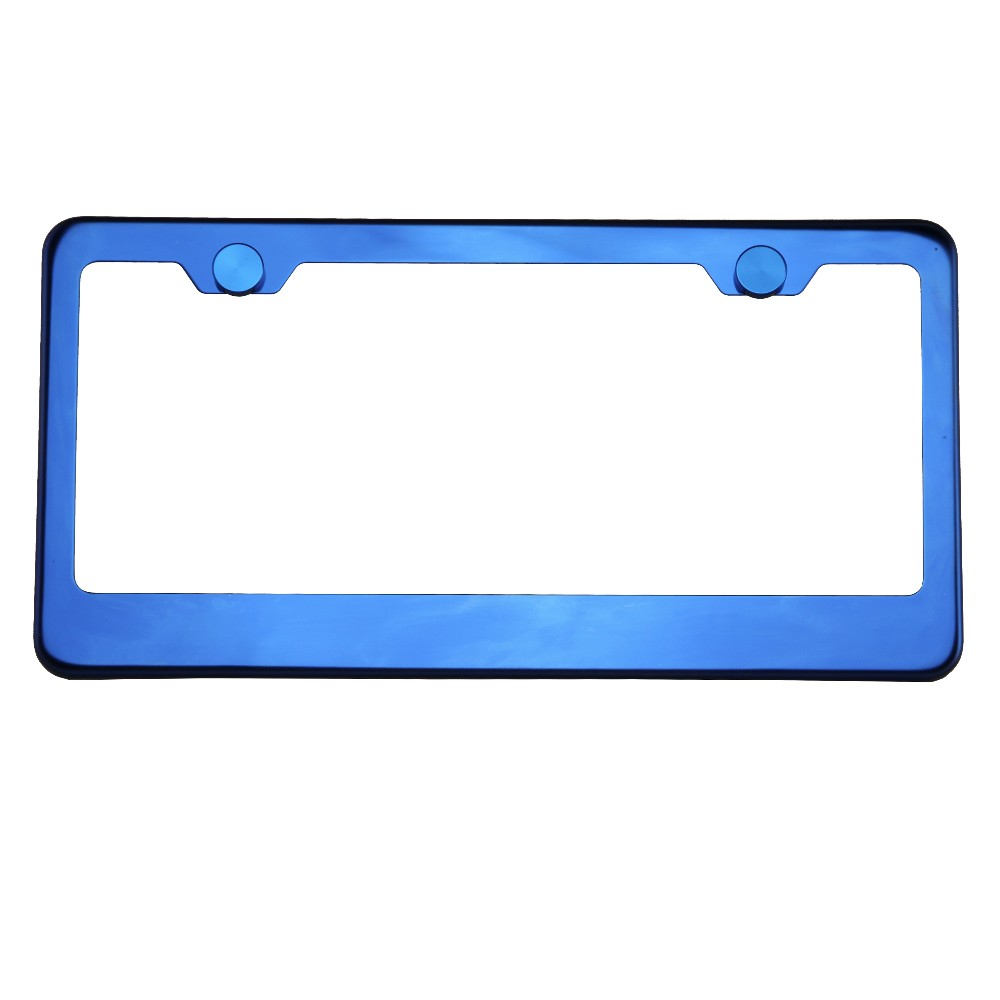 KA DEPOT T304 8k Polish Electrochemical Blue Chrome Stainless Steel License Plate Frame
