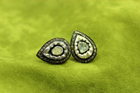 925 Sterling Silver Gold Polish Natural Sparkle Diamond Victorian Jewelry Earring Good Quality.