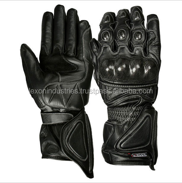 Men's Genuine Leather Motorcycle Gloves CARBON Protect Motorbike Gloves Racing Riding