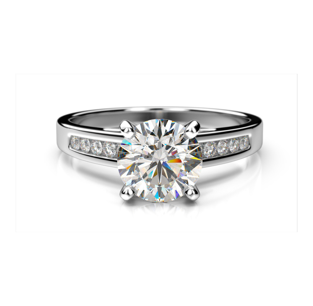 Solitaire with accents 1.30Ct Diamond Engagement Ring in 14k Gold at Manufacturing Price
