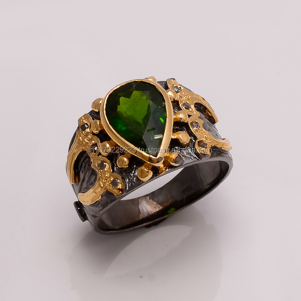 925 SOLID STERLING FINE SILVER PERIDOT RING BLACK & GOLD RHODIUM