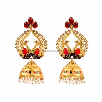 d910dc07b Ethnic Big Mughal Pearl Beaded Colored Stone Enamel Peacock Style Jhumka  Designer Gold Plated Earrings