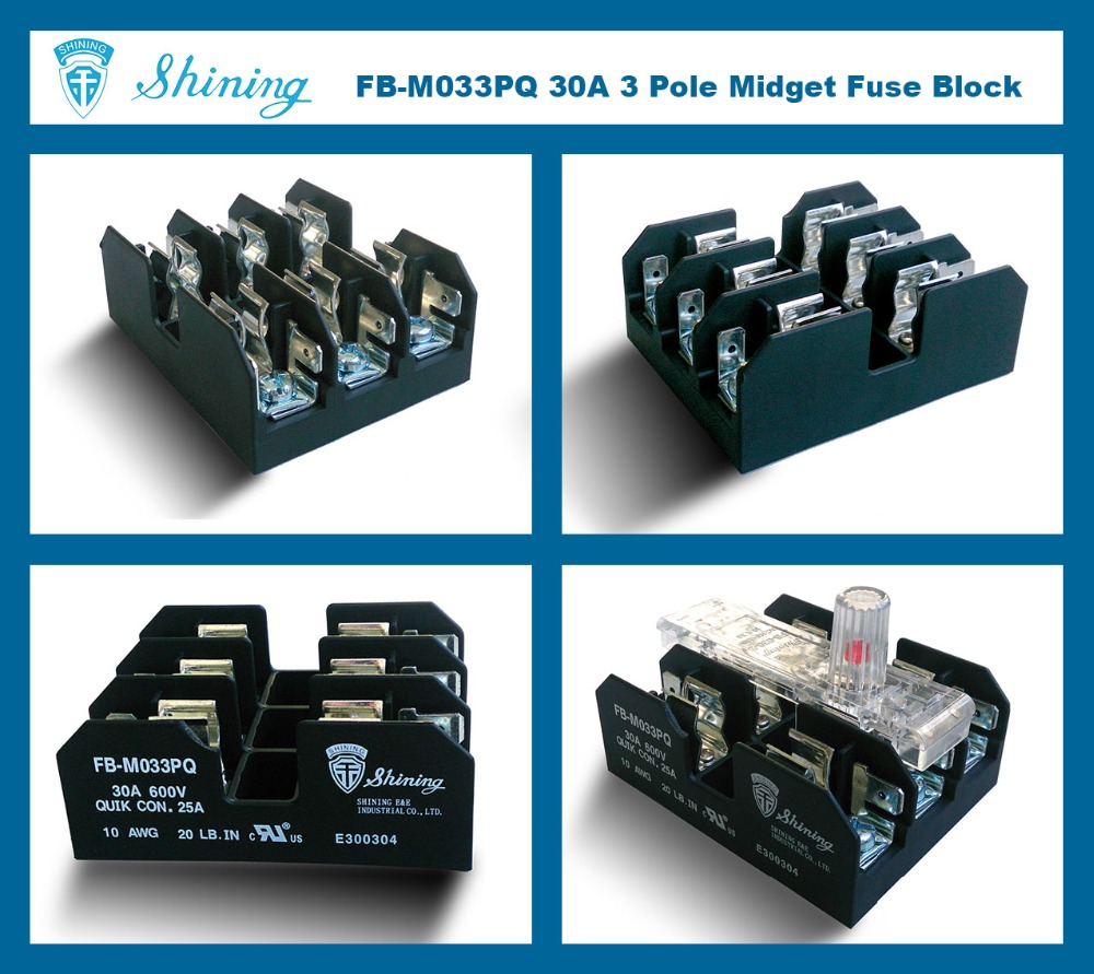 FB-M033PQ Panel Mounted 30A 3 Way Equal To Bussmann Class M Fuse Base