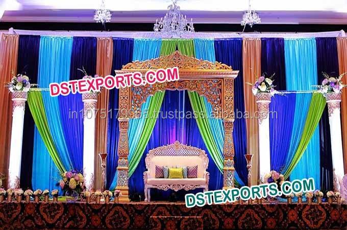 Wedding Reception Stage Decor Fiber Pillars Set Indian Decoration