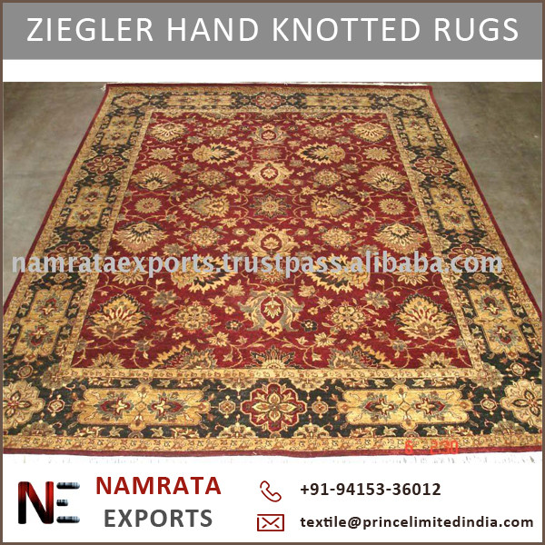 Hand Knotted Modern Design Ziegler Wool Rug From Indian Whole Supplier