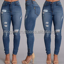 Popular Hot Sale Casual Women Ripped Washed Denim Jeans