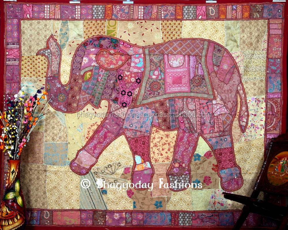 Elephant Tapestry Wall Hanging patchwork elephant tapestry dorm wall hanging handmade rich