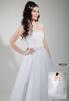 Wedding dress tulle coated over lace pearl embroidered