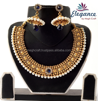 9d837cd298 Antique One Gram Gold Plated Necklace With Jhumka Earring-South Indian  Pearl Necklace Set-