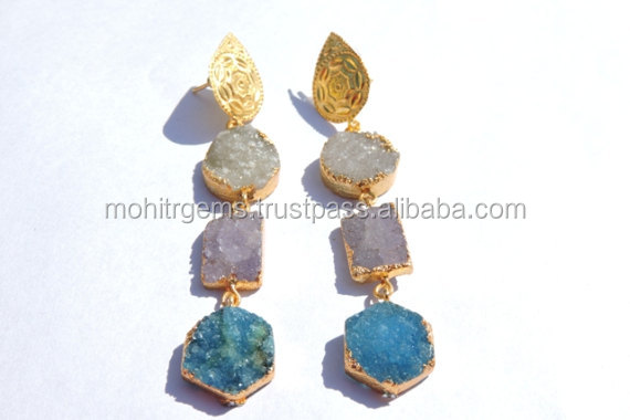 Pastel Colour Agate Druzy E-Plating 3 Stone Statement Earring With Cap