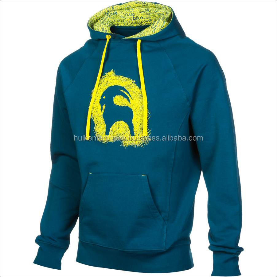 65% Polyester 35% Cotton PC Fleece Hoodie, Blue Yellow Lined Hoodie, Full Sleeves Pull-over Hoodie